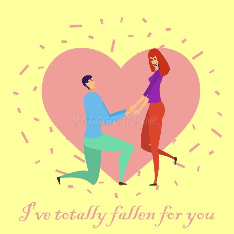 Kartka z pozdrowieniami z kochankami Młodzi człowiecy i kobieta charaktery ilustracja wektor