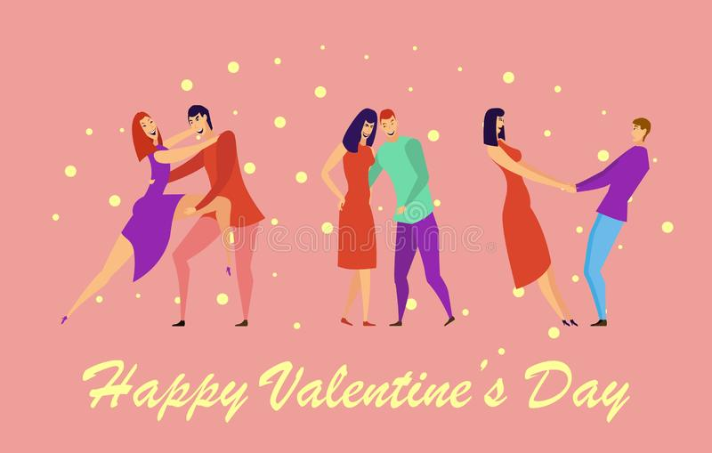 Kartka z pozdrowieniami z kochankami Młodzi człowiecy i kobieta charaktery ilustracji