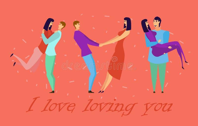 Kartka z pozdrowieniami z kochankami Młodzi człowiecy i kobieta charaktery royalty ilustracja