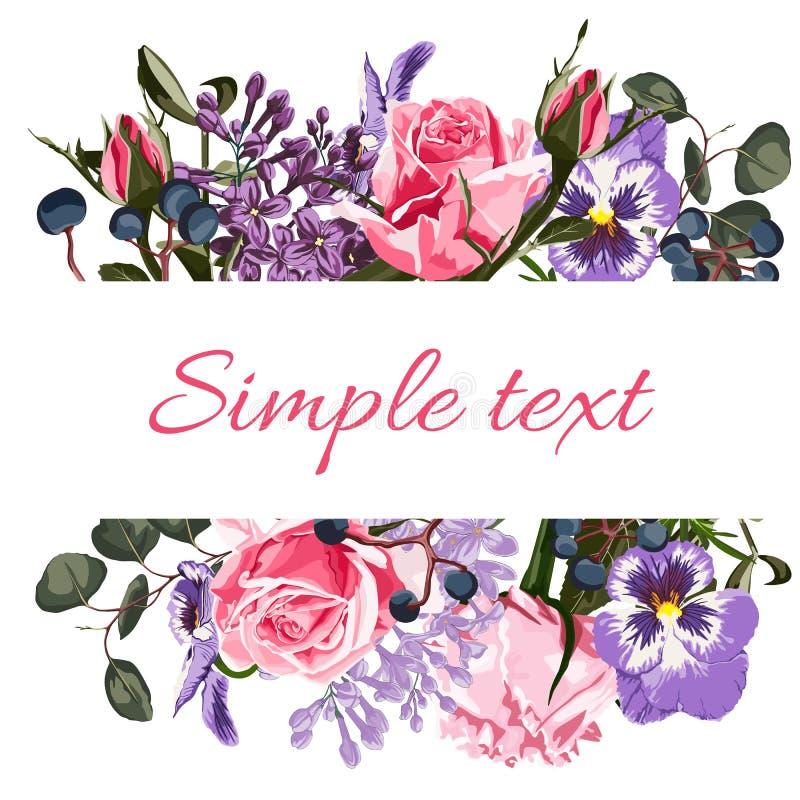 Kartka z pozdrowieniami z kwiatami, akwarela, może używać jako zaproszenie karta dla poślubiać, urodziny, inny lata backgrou i wa ilustracja wektor