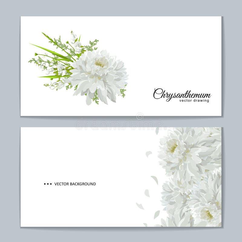 Kartka z pozdrowieniami z kwiatu bukietem - białe chryzantemy ilustracja wektor