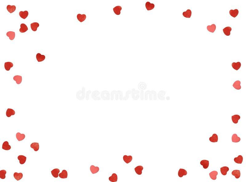 Kartka z pozdrowieniami lub fotografii rama i valentines dnia filc bawimy się serce nad białym tłem czerwona róża zdjęcie royalty free