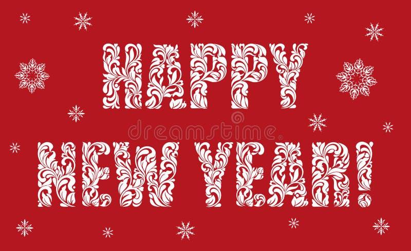 Kartka z pozdrowieniami lub plakatowy Szczęśliwy nowy rok Tekst robić kwieciści elementy ilustracja wektor