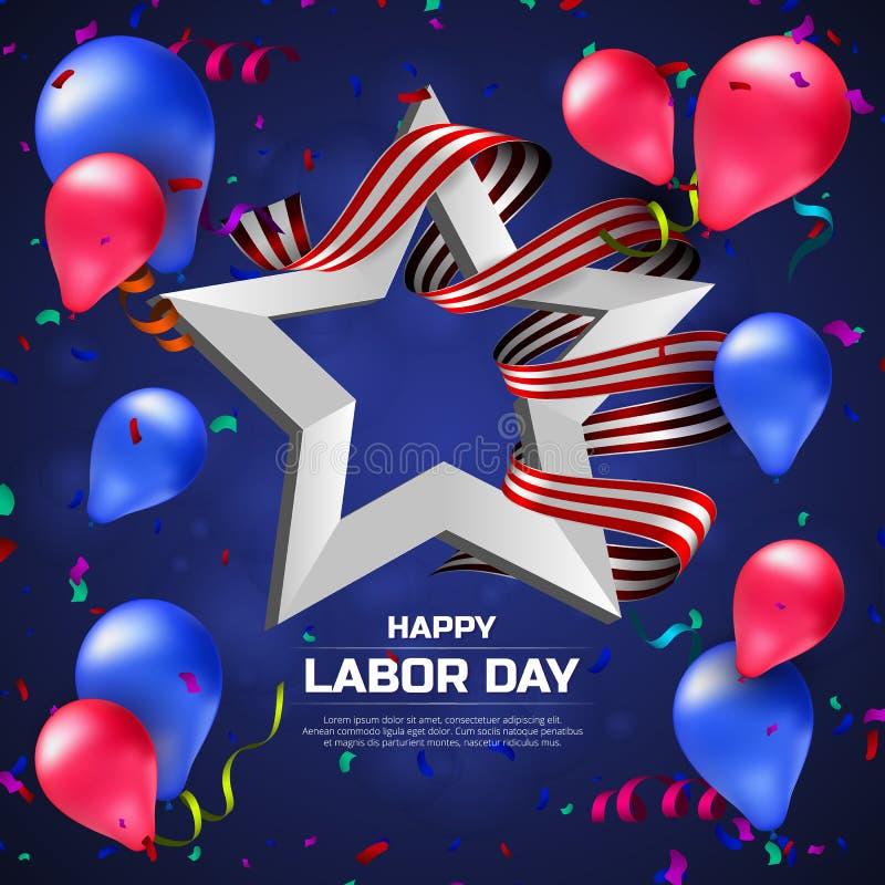 Kartka z pozdrowieniami lub sztandar Szczęśliwy święto pracy z balonami, bielu faborkiem, gwiazdowym i pasiastym ilustracja wektor