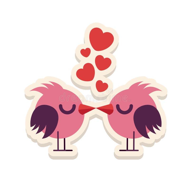 Kartka z pozdrowieniami miłości ptaki całuje szczęśliwą walentynki wektoru ilustrację Deseniowy projekt Ulotka lub zaproszenie royalty ilustracja