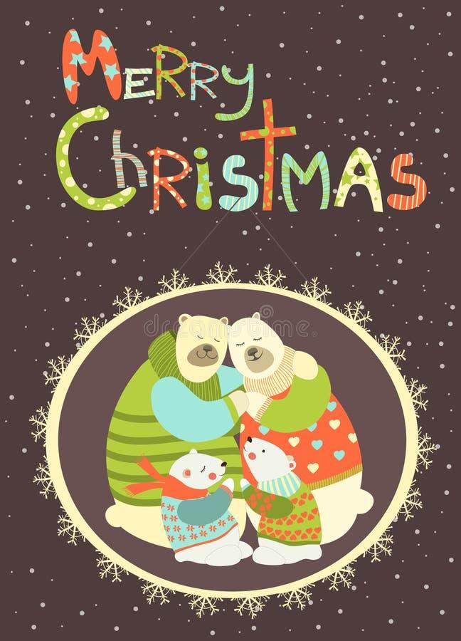 Kartka z pozdrowieniami, niedźwiedź polarny rodzinna odświętność royalty ilustracja