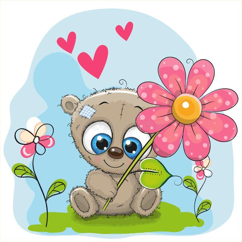Kartka z pozdrowieniami niedźwiedź z kwiatem ilustracja wektor