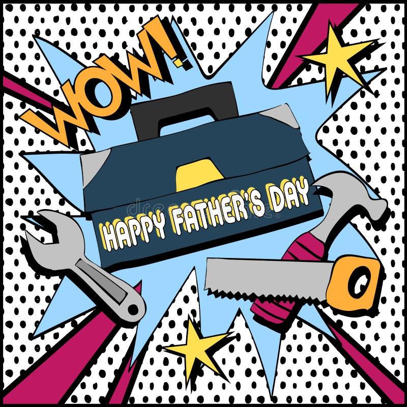 Kartka z pozdrowieniami z ojcem i narzędziami zdjęcia stock