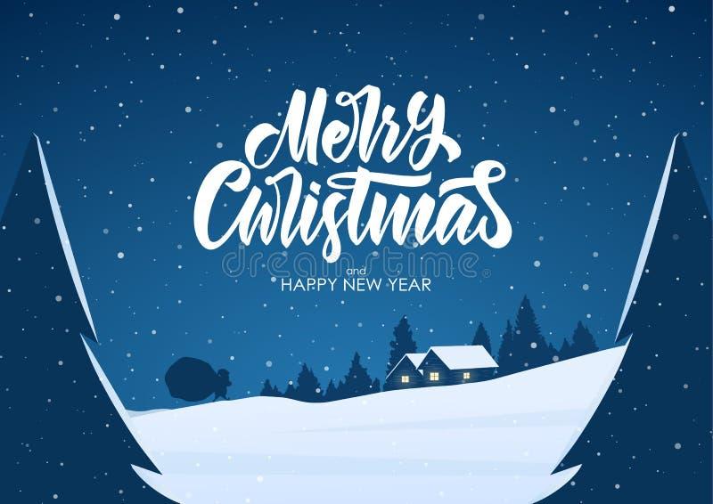 Kartka z pozdrowieniami z płaską kreskówki sceną Zima śnieżny krajobraz z kabiną i Święty Mikołaj wesołych Świąt ilustracja wektor