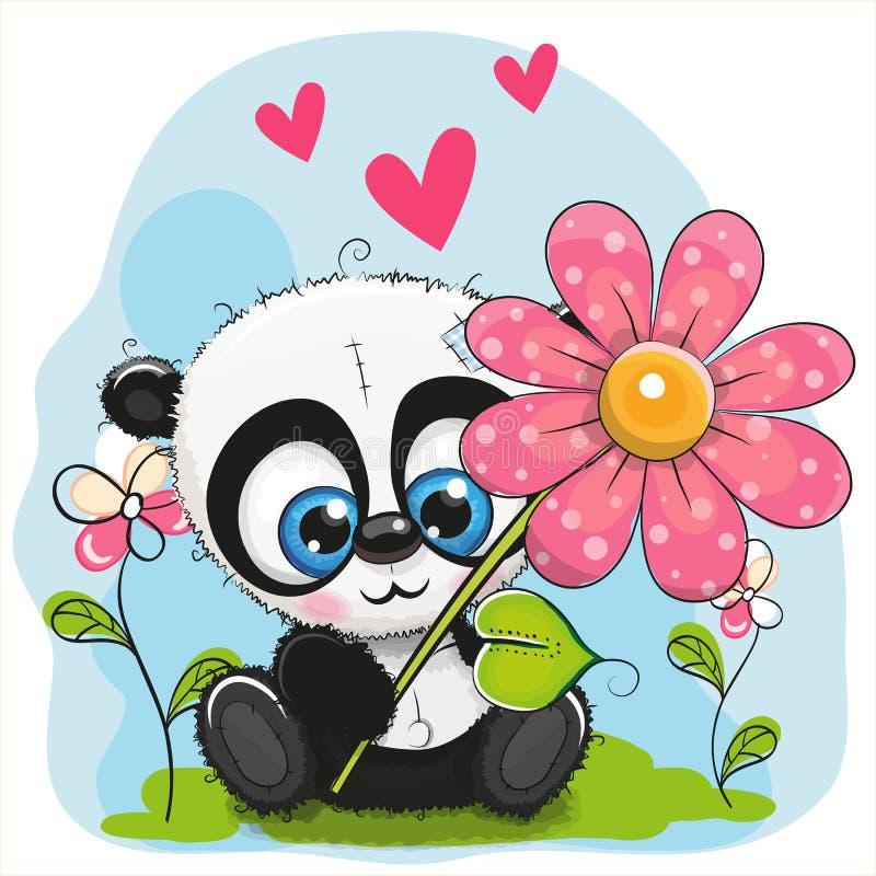 Kartka z pozdrowieniami panda z kwiatem i sercami royalty ilustracja