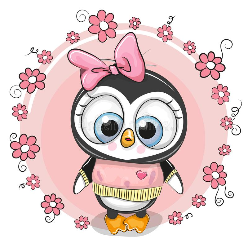 Kartka z pozdrowieniami penguinl z kwiatami royalty ilustracja