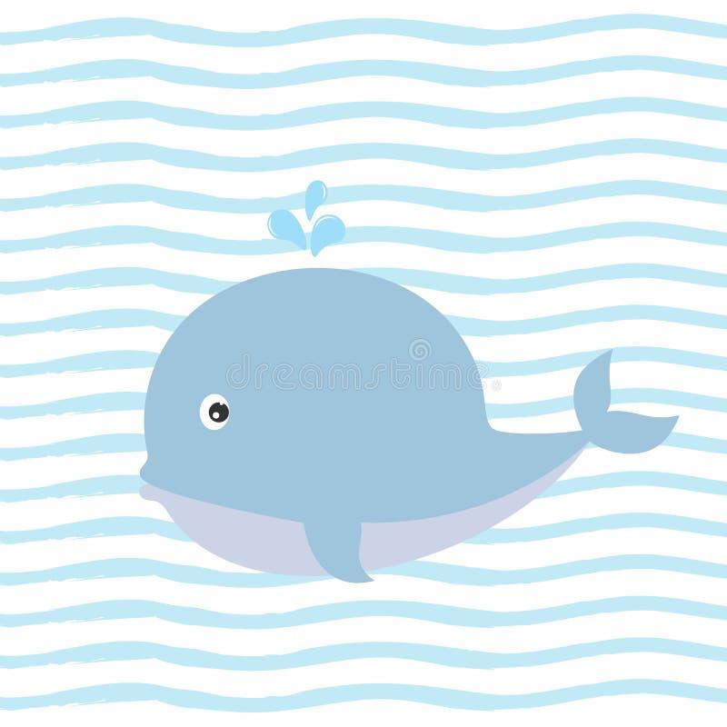Kartka z pozdrowieniami z powabnym wielorybem na tle z błękitnymi lampasami ilustracji