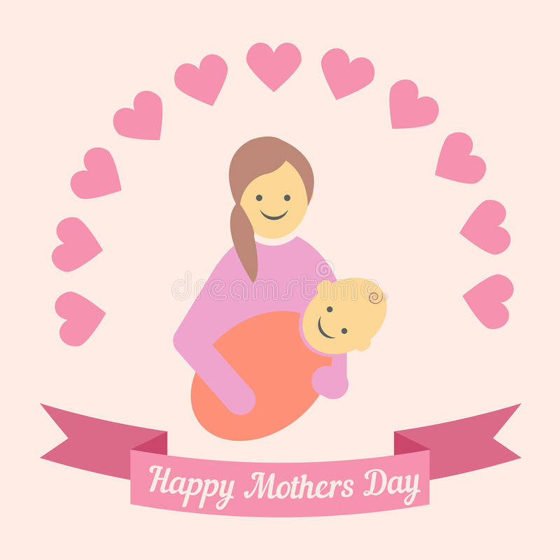 Kartka z pozdrowieniami projekt dla matka dnia royalty ilustracja