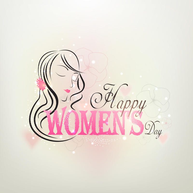 Kartka z pozdrowieniami projekt dla Międzynarodowego kobieta dnia świętowania royalty ilustracja
