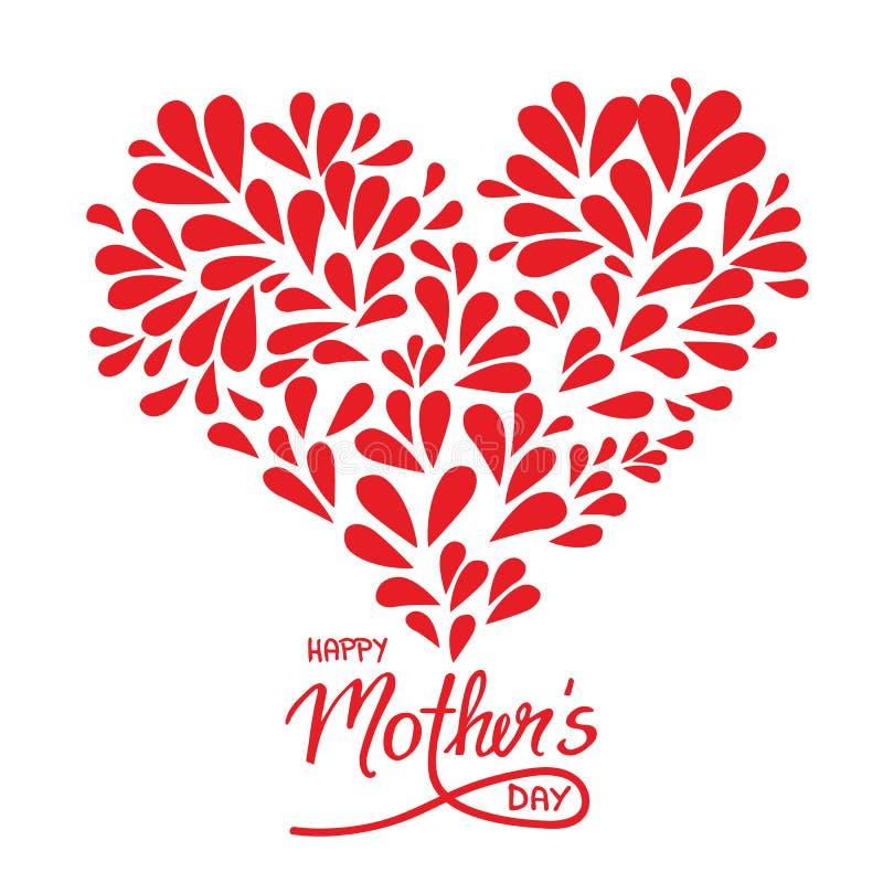 Kartka z pozdrowieniami z ręcznie pisany szyldowym Szczęśliwym matka dniem, sercem i ilustracji