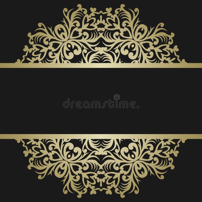 Kartka z pozdrowieniami z rocznika złocistym ornamentem i miejsce dla teksta sig ilustracja wektor