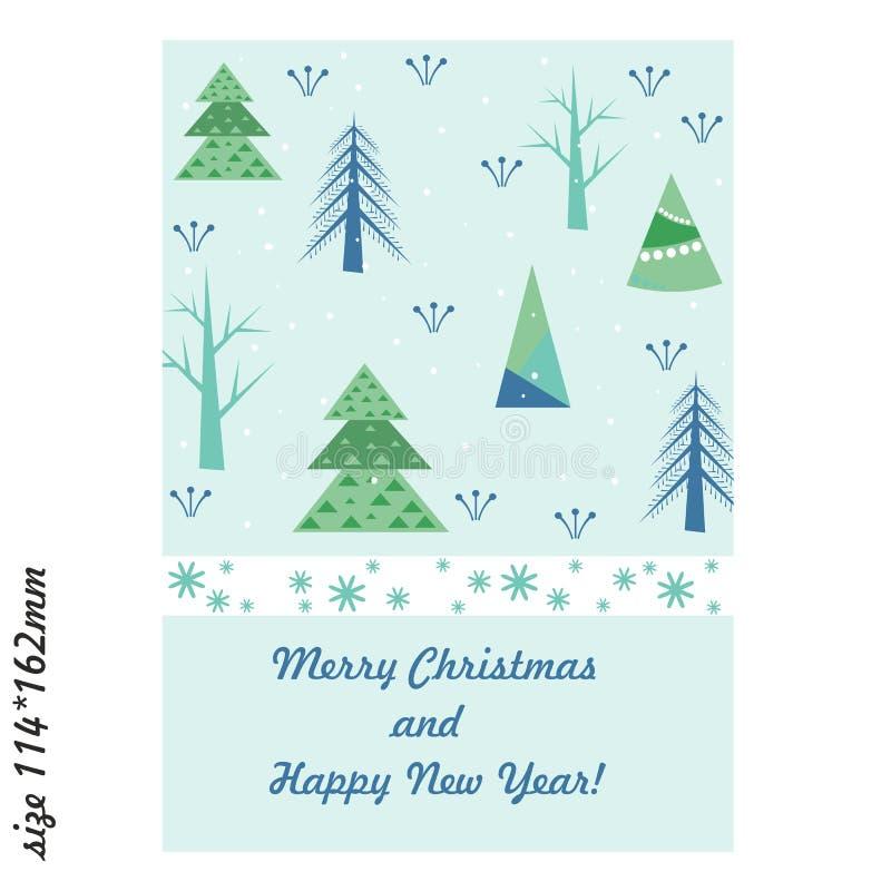 Kartka z pozdrowieniami z stylizowanymi choinkami i płatkami śniegu Wesoło boże narodzenia i Szczęśliwy nowy rok ilustracja wektor