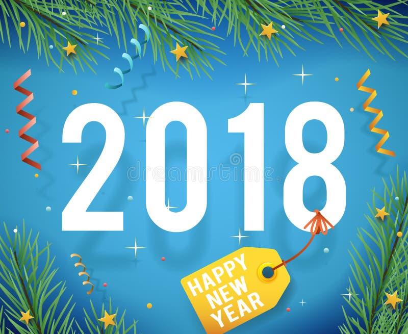 Kartka Z Pozdrowieniami szablonu nowego roku symbolu ikony confetti faborków wektoru 2018 ilustracja ilustracji