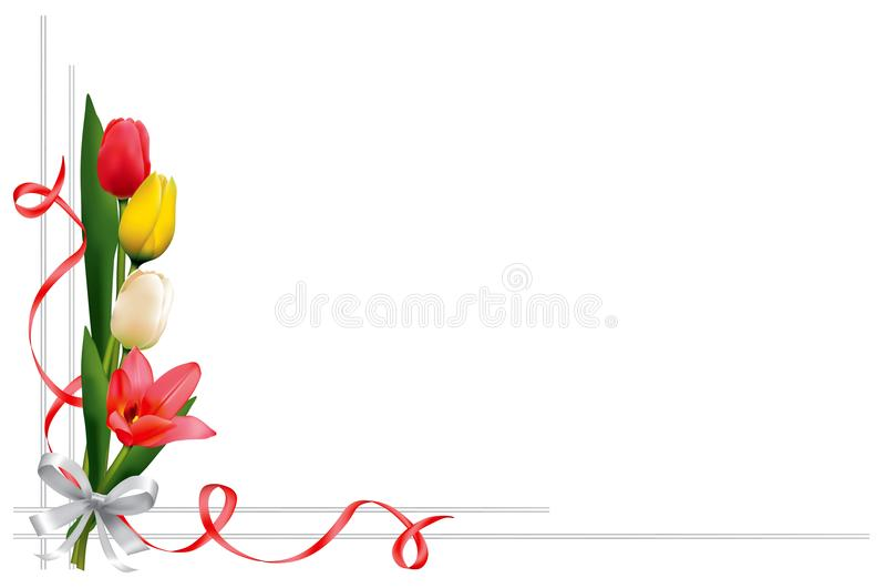 Kartka z pozdrowieniami z tulipanami ilustracja wektor