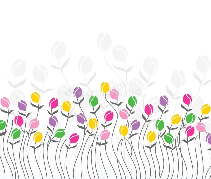 Kartka z pozdrowieniami tulipanowi kwiaty ilustracji