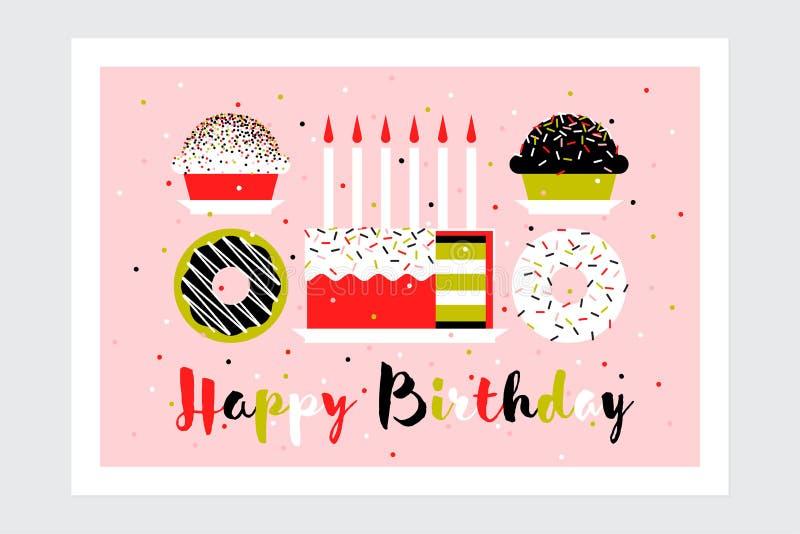 Kartka z pozdrowieniami z urodzinowym tortem z świeczkami, słodka bułeczka i donuts, Mieszkanie stylu przyjęcia zaproszenie z wsz royalty ilustracja