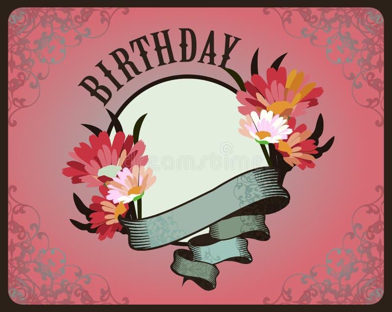 Kartka z pozdrowieniami urodziny royalty ilustracja
