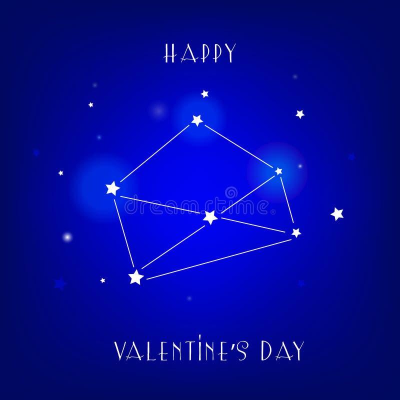 Kartka z pozdrowieniami walentynki ` s Szczęśliwy dzień z gwiazdą i gwiazdozbiorem royalty ilustracja