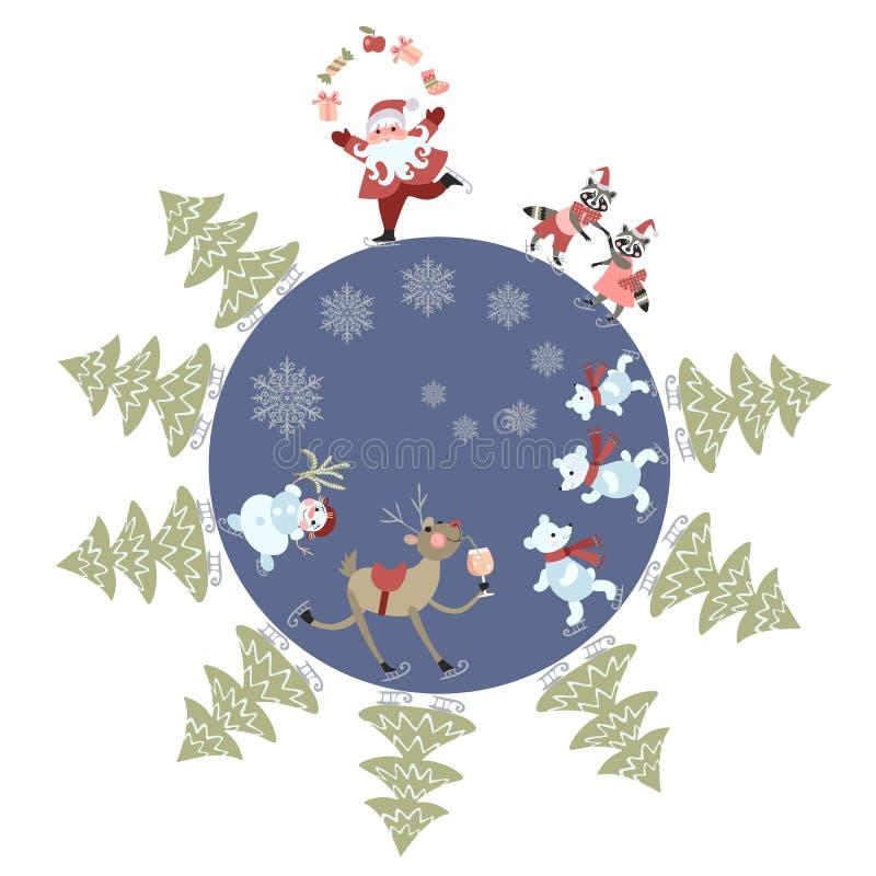 Kartka z pozdrowieniami Wesoło boże narodzenia! Śliczni Święty Mikołaj kuglarscy prezenty, renifer, bałwan, niedźwiedzie polarni, ilustracji