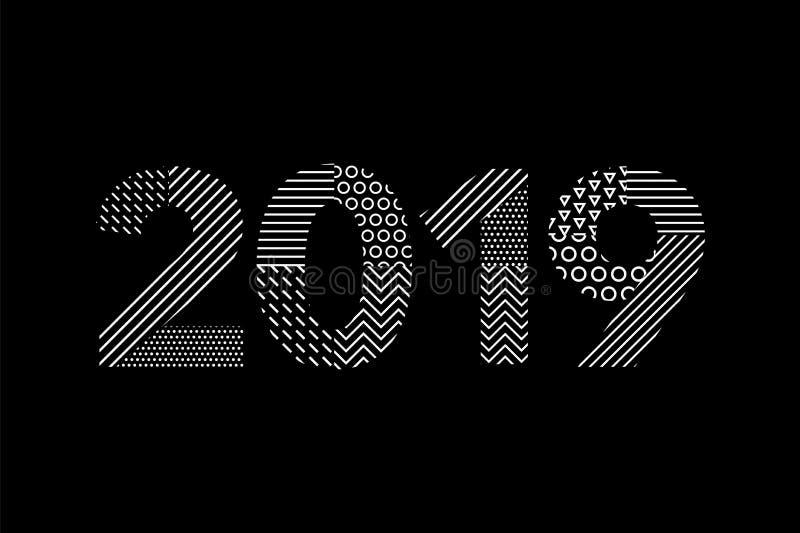 Kartka z pozdrowieniami z wpisowym Szczęśliwym nowym rokiem 2019 dla twój układ ulotek powitanie karty i