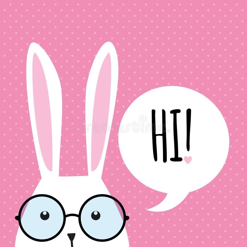 Kartka z pozdrowieniami z śmiesznym królikiem tła królika ucho Easter odosobniony biel ilustracja wektor