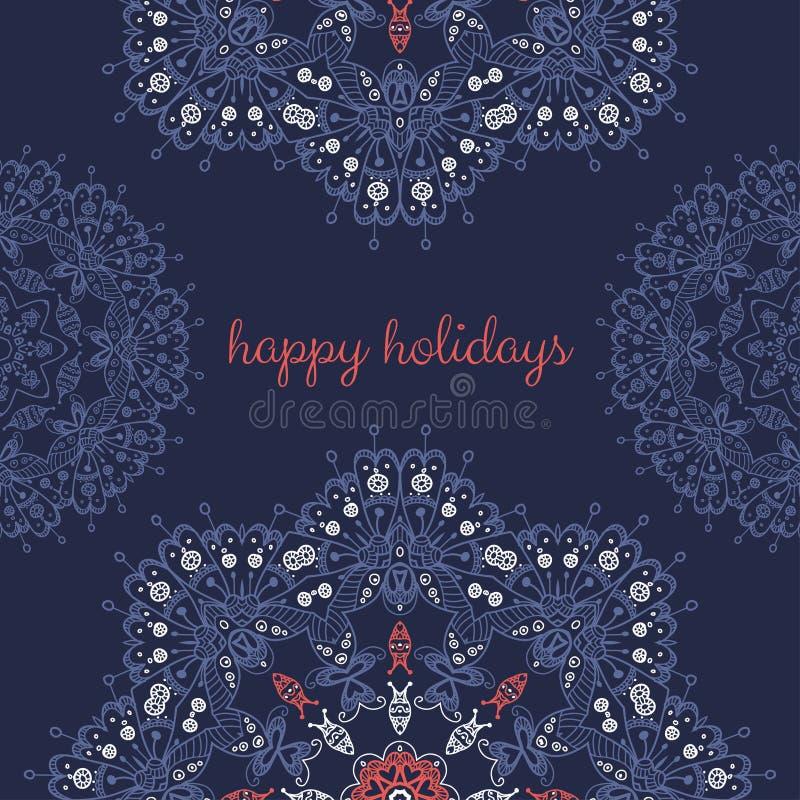 Download Kartka Z Pozdrowieniami Z Abstrakcjonistyczny Wektorowy Ornamentacyjny Round Mandala Ilustracja Wektor - Ilustracja złożonej z wakacje, zaproszenie: 53776009