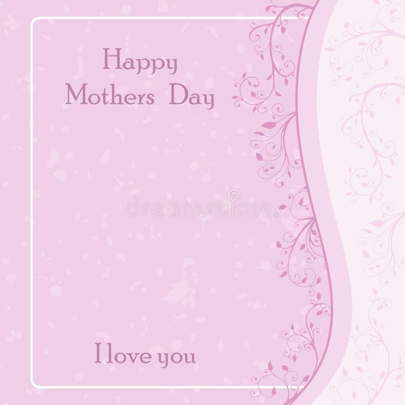 Kartka z pozdrowieniami z abstrakcjonistycznym liścia i gałązki tłem Wektorowa ilustracja w pastelowych kolorach Różowa i biała p ilustracja wektor