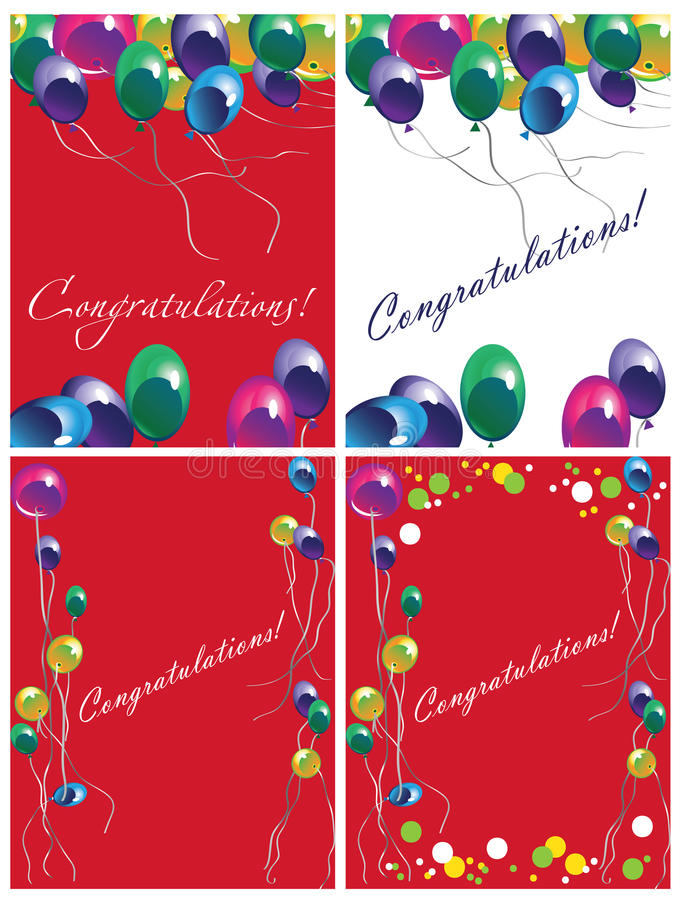 Kartka z pozdrowieniami z balonami royalty ilustracja