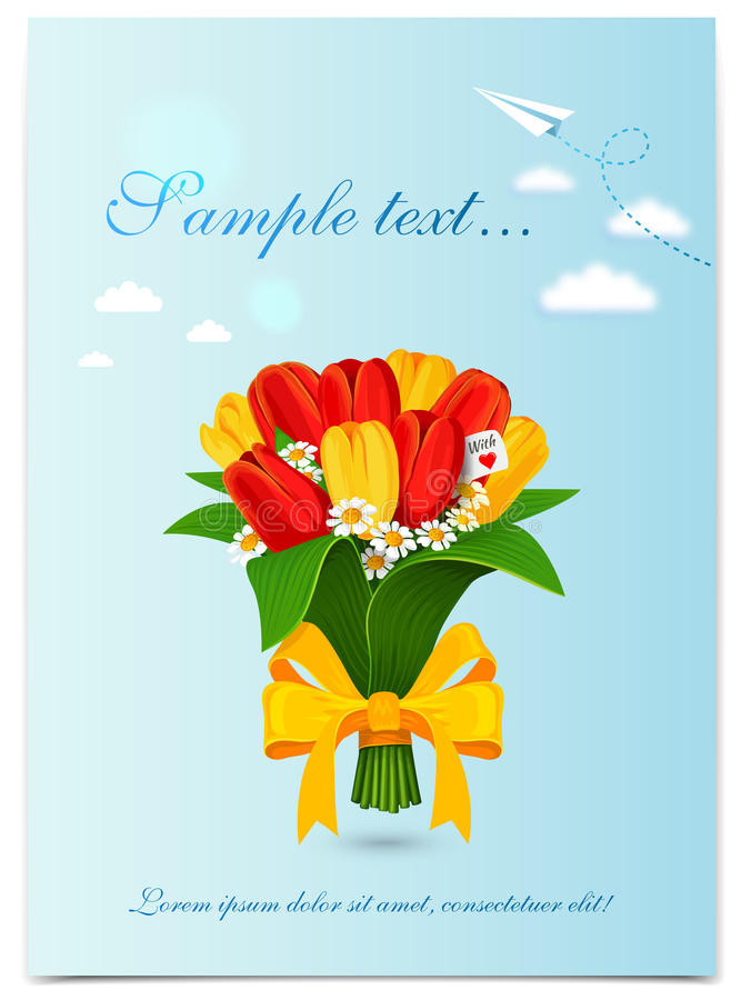Kartka z pozdrowieniami z bukiet wiosny tulipanami również zwrócić corel ilustracji wektora ilustracja wektor