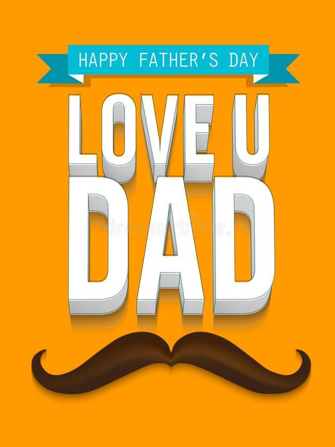 Kartka z pozdrowieniami z 3D tekstem dla Szczęśliwego ojca dnia royalty ilustracja