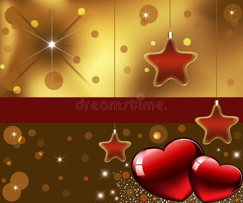 Kartka z pozdrowieniami z dekoracyjnymi sercami i gwiazdami. ilustracja wektor