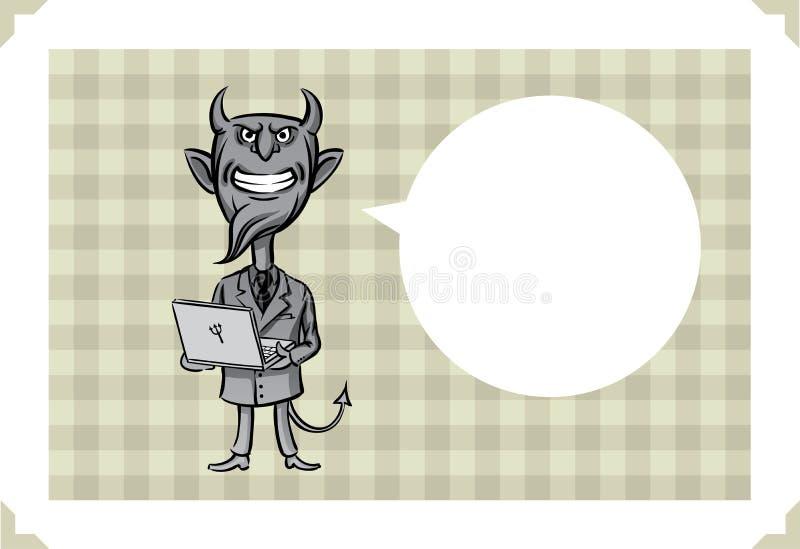 Kartka z pozdrowieniami z diabłem z laptopem royalty ilustracja