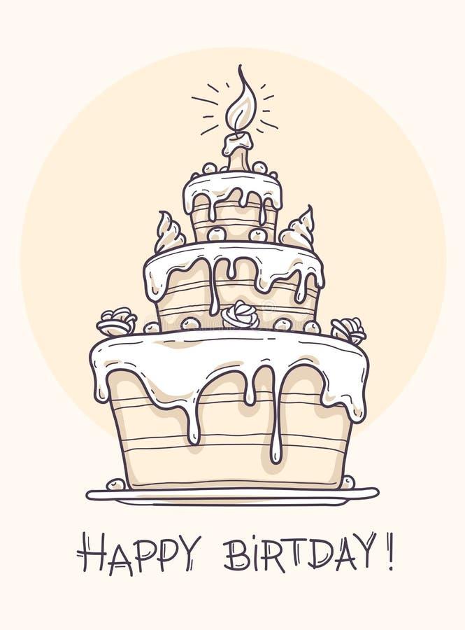 Kartka z pozdrowieniami z dużym urodzinowym tortem royalty ilustracja