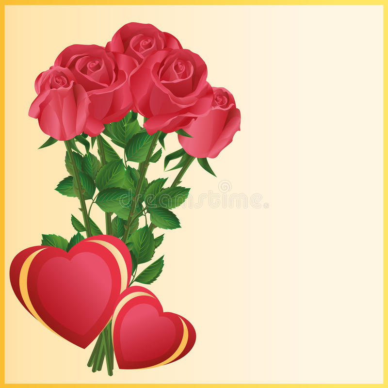 Kartka z pozdrowieniami z dwa sercami i czerwonymi różami royalty ilustracja