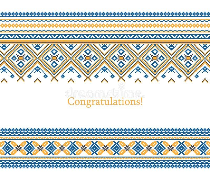 Kartka z pozdrowieniami z etnicznym ornamentu wzorem w różnych kolorach ilustracji