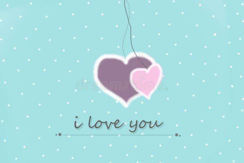 kartka z pozdrowieniami z kocham ciebie szyldowego na błękitnym tle z białymi kropkami ilustracja wektor