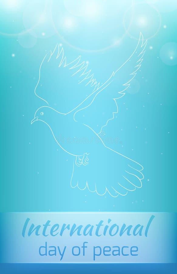 Kartka z pozdrowieniami z latanie gołąbką ilustracja wektor