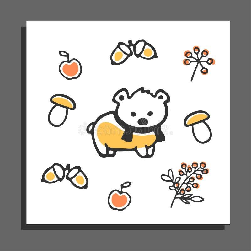 Kartka z pozdrowieniami z niedźwiedziem, szalikiem i jesieni ilustracjami, ilustracja wektor