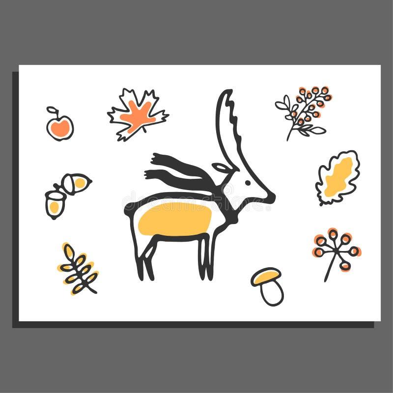Kartka z pozdrowieniami z rogaczem, szalikiem i jesieni ilustracjami, ilustracja wektor