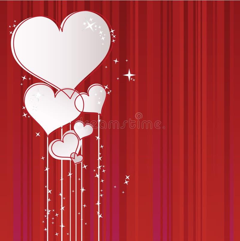 Kartka z pozdrowieniami z sercami royalty ilustracja