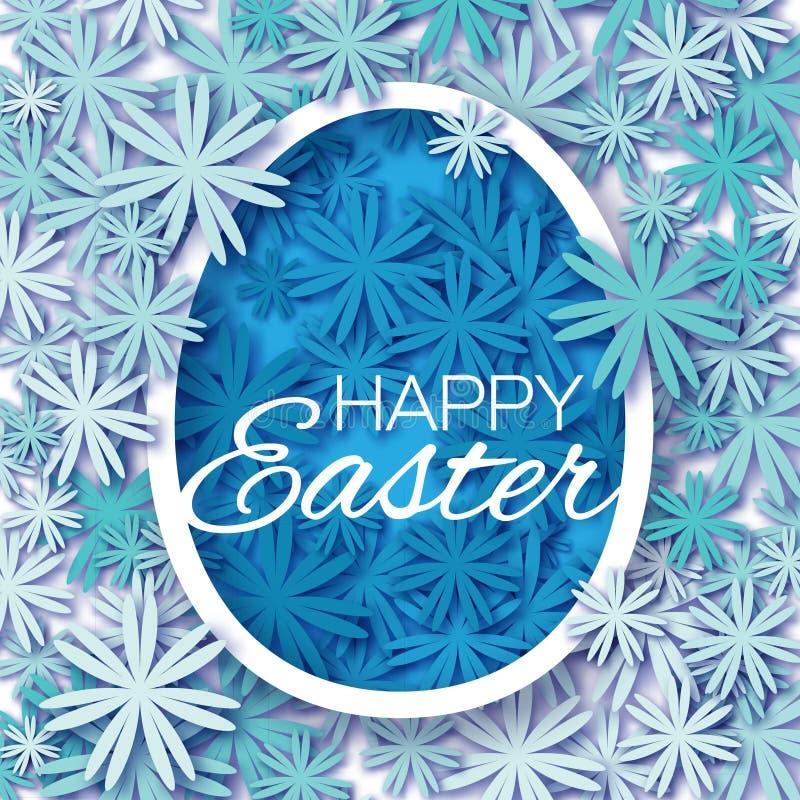 Kartka z pozdrowieniami z Szczęśliwą wielkanocą z błękitnego kwiatu Wielkanocnym jajkiem na białym tle - ilustracji