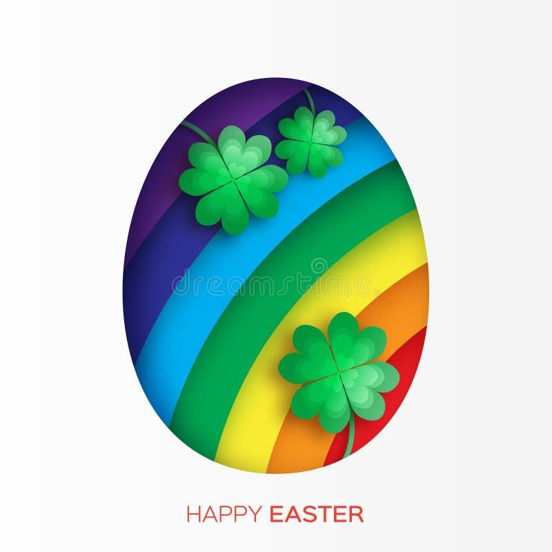 Kartka z pozdrowieniami z Szczęśliwą wielkanocą z Wielkanocnym jajkiem, tęczą i koniczyną -, ilustracji