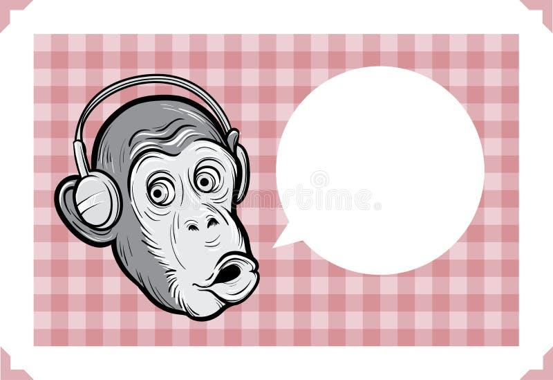 Kartka z pozdrowieniami z szympans twarzą royalty ilustracja