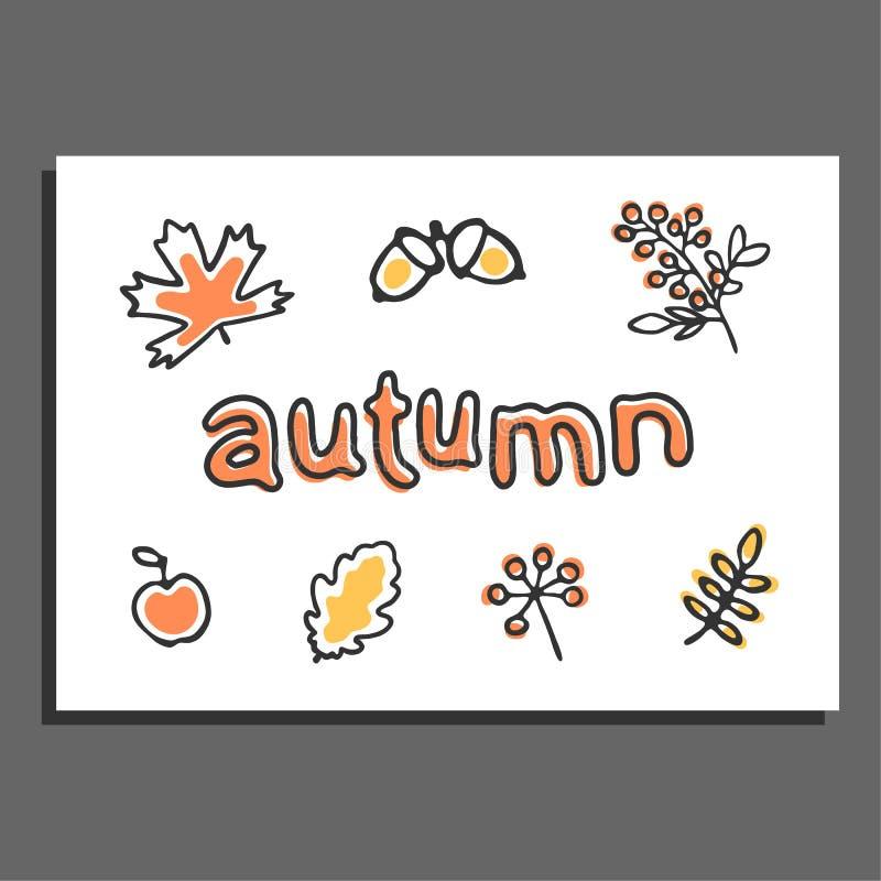 Kartka z pozdrowieniami z wektorowymi jesieni ilustracjami ilustracja wektor