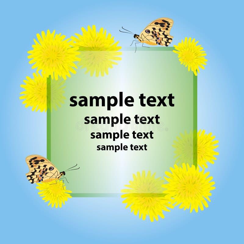 Kartka z pozdrowieniami, zaproszenie z żółtymi kwiatami ilustracji